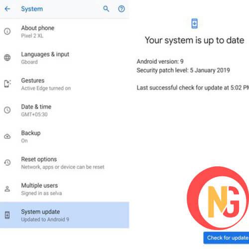Chọn Upadate system để cập nhật phần mềm Nokia 8.1