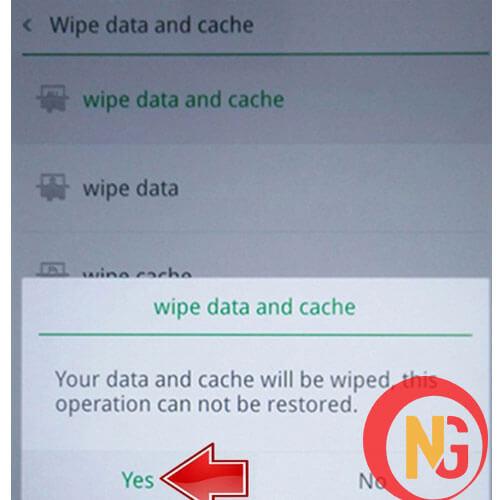 Chọn Wipe data and cache, sau đó chọn yes để khôi phục cài đặt gốc