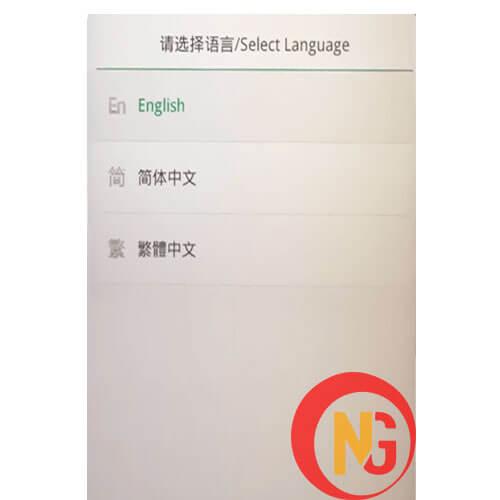 Chọn ngôn ngữ English